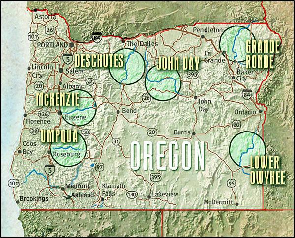 Oregon Whitewater Adventures River Rafting Umpqua McKenzie - Oregon river maps